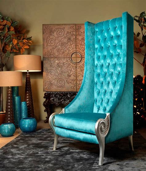 eclectic high  chairs majestic turquoise armchair