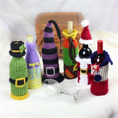 wine bottle covers loom knitting pattern  unique