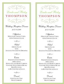 wedding menus wedding menu template 5 free printable menu cards