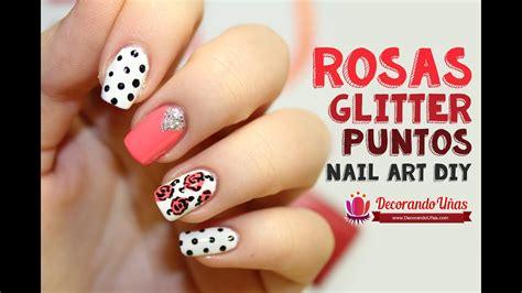 unas decoradas  rosas puntos  glitter youtube