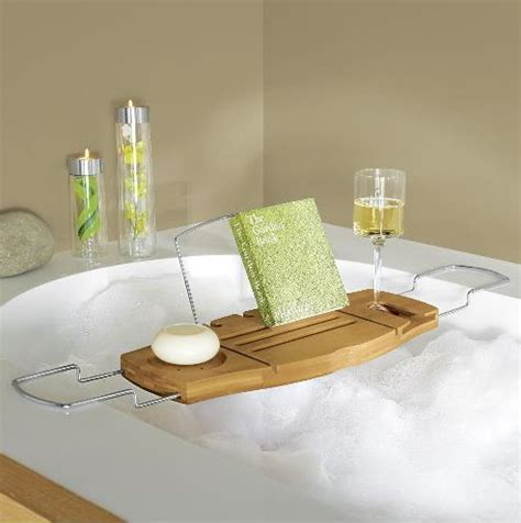 Bamboo Bathtub Caddy With Wine Glass Holder by The Highly Useful Bamboo Bath Caddy