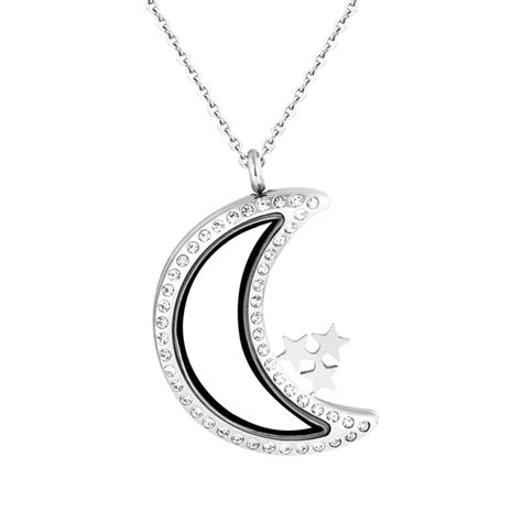 engraved locket necklace stainless steel moon engraved locket necklace for