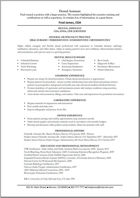 orthodontist assistant resume exles best 25 dental cover ideas on facts about