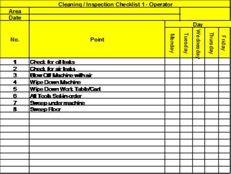 inspection sheet total productive maintenance part 2 autonomous maintenance
