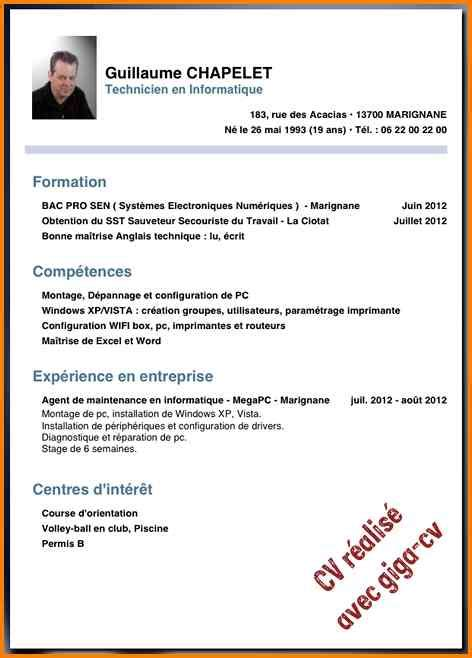 How To Make Cv For Exle by Cv En Ligne Sans Experience