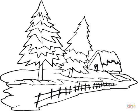 Dibujo De Dos Pinos Y Una Cabaña Para Colorear