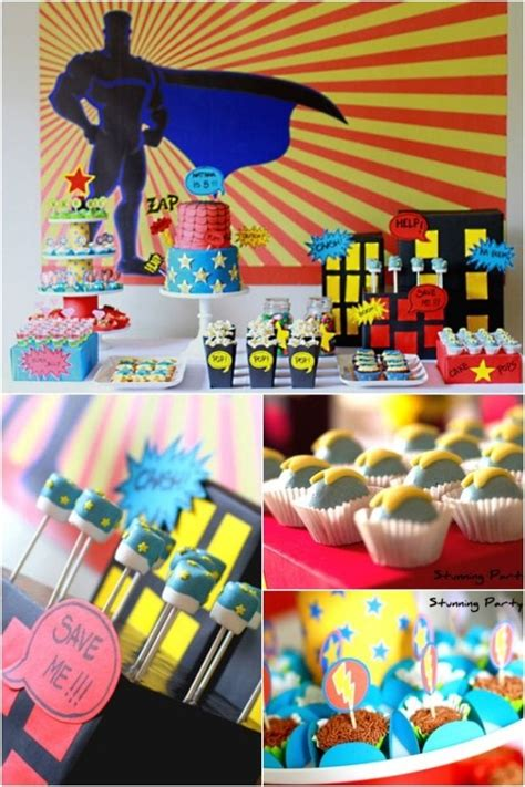 boys superhero themed  birthday party spaceships
