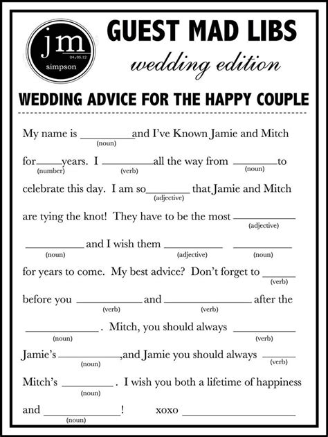 printable wedding mad lib  fun guest book alternative