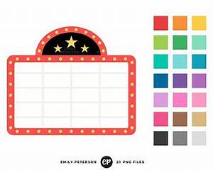 Cinema clipart etsy for Theatre sign clipart