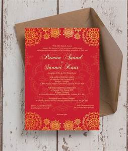 red gold indian asian wedding invitation from gbp100 each With red and gold wedding invitations uk