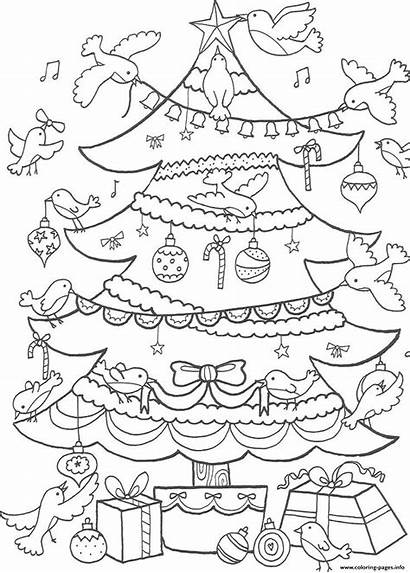 Coloring Christmas Tree Birds Decorating Pages Printable