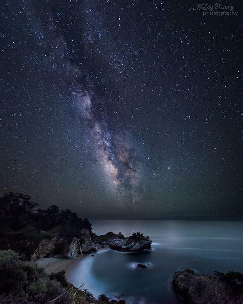 Milkyway Mcway Milky Way Over Falls Big Sur