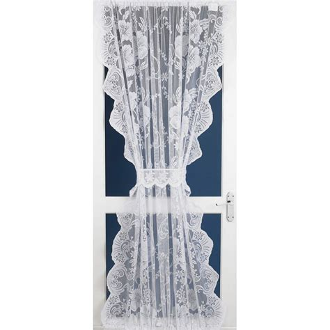 roma lace net curtain door panel in white 54 quot wide x 72