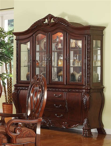 Cherry Buffet And Hutch - quinlan buffet and hutch in cherry finish by acme 60270