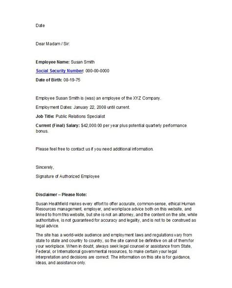 letter of employment 40 proof of employment letters verification forms 89654