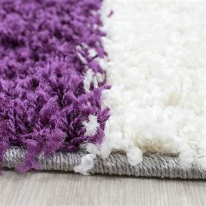 Teppich Langflor Grau : hochflor langflor wohnzimmer shaggy teppich florh he 3cm kariert lila weiss grau ~ Orissabook.com Haus und Dekorationen