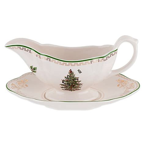 spode 174 christmas tree gold gravy boat and stand bed bath