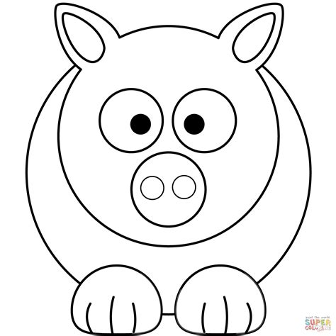 Simple Cartoon Pig coloring page