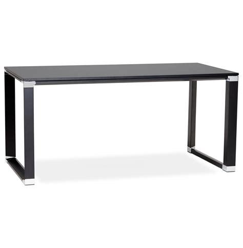 bureau 160 cm bureau droit design en bois teint noir 160 cm