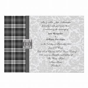 wedding invitation grey watch tartan and damask zazzle With wedding invitations with tartan