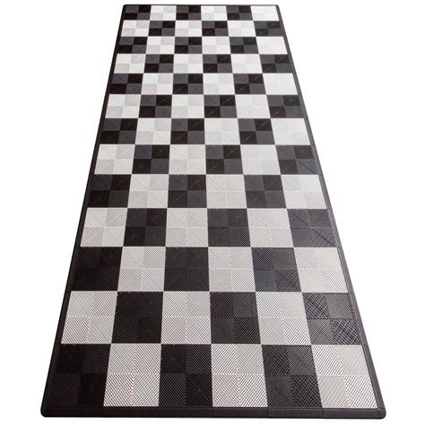 swisstrax black and white checkered single car pad ribtrax