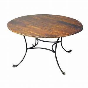 Table Fer Forgé Ronde : table de repas ronde r tro meuble fer forg et palissandre ~ Teatrodelosmanantiales.com Idées de Décoration