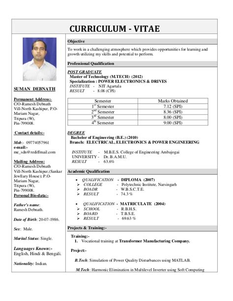 Updated Cv Format by Suman Debnath Updated Cv