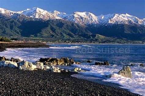 surf  kaikoura beach  snow covered seaward kaikoura