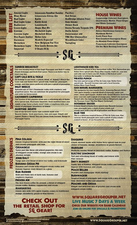 menu square tiki grouper bar