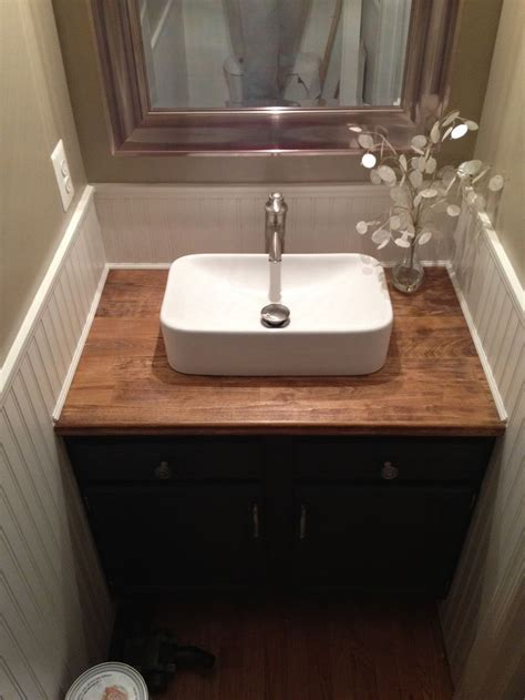 Bathroom Sink Blocked by Existing Cabs Butcher Block Counter Bead Board Surround