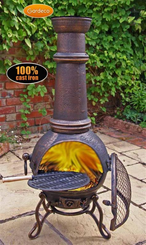 Chiminea Clay Or Iron - patio gardeco large toledo cast iron chiminea with