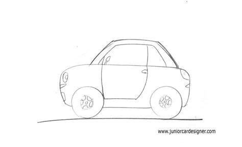 draw  easy cartoon car  children   side view