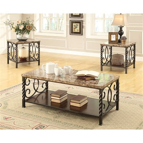 It lets you create a warm and inviting look with your favorite decor, collectibles, potted plants etc. Coaster Lockhart 3 Piece Faux Marble Top Coffee Table Set in Brown - 701695