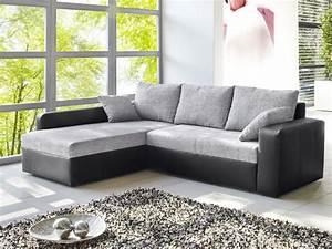 Graue Couch Wohnzimmer : ecksofa vida 244x174cm webstoff grau kunstleder schwarz ~ Michelbontemps.com Haus und Dekorationen