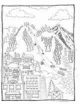 Coloring Ski Skiing sketch template