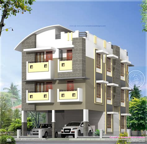 beautiful three story apartment 3 story home design in 3630 sq kerala home design