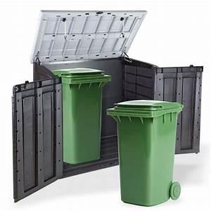 Abri Rangement de jardin Coffre Cache poubelle XL 2 x 240 litres Dcoration extrieure