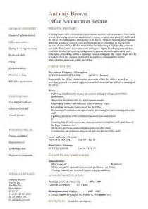 administration manager resume template office administrator resume exles cv sles templates duties administrative assistant