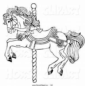 carousel horse clip art clip art of a coloring page of a With merry go round horse template