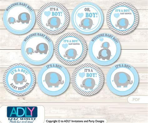 Best baby elephant shower invitations perfect for baby shower party free editable diy baby shower invite template. Baby Shower Grey Blue Elephant Cupcake Toppers Printable ...