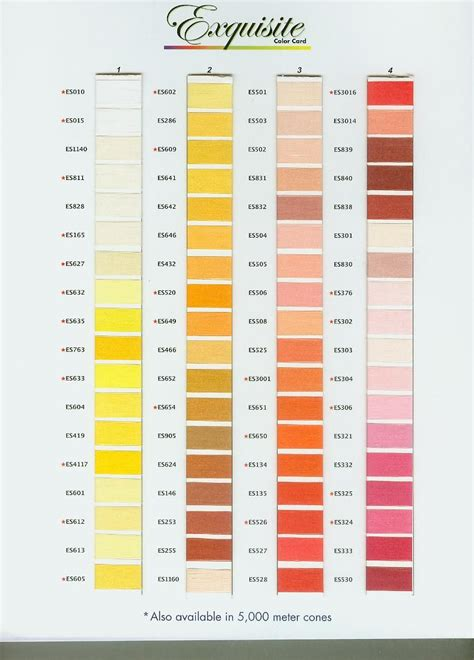 exquisite poly thread color chart page  sew