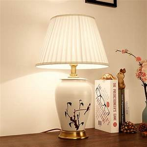 Copper, Chinese, Style, Hand, Painted, Ceramic, Table, Lamp, Modern, Bedroom, Bedside, Decorative, Lamps