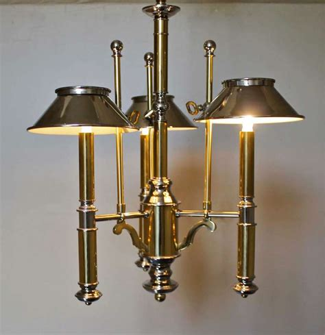 Lightolier Chandelier by Lightolier Brass And Nickel Three Light Chandelier For