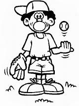 Baseball Coloring Boy Cartoon Ball Glove Mitt Clipart Clip Cliparts Pages Library sketch template
