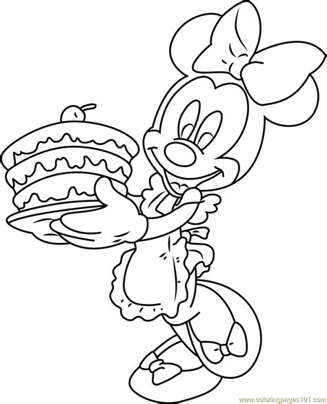 minnie mouse  birthday cake coloring page