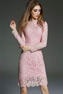 pink lace dress with sleeves Naf Dresses