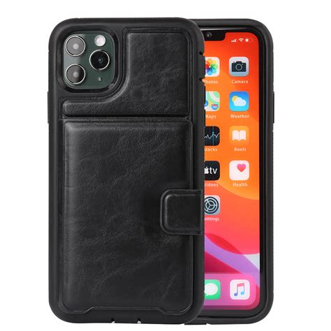 Handmade craftmanship and reinforced stitching makes it durable and shockproof. Cellphone Case for iPhone 11 Pro Max PU Leather Wallet Case with Card Pockets Back Flip Cover ...