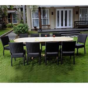 Salon Jardin Teck : salon de jardin en teck brut et 8 chaises r sine tress e noire ~ Melissatoandfro.com Idées de Décoration