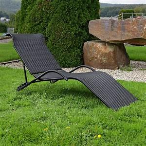 Sonnenliege Rattan Günstig : sonnenliege aus polyrattan schwarz lounge gartenliege rattanliege terrassenliege kaufen bei ~ Indierocktalk.com Haus und Dekorationen