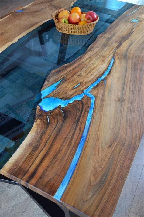 edge river dining table  bench  glowing resin